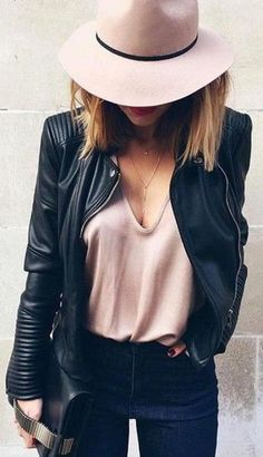how to wear a moto jacket : nude hat + top + jeans + bag