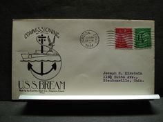 USS BREAM SS-243 Naval Cover 1944 HERALD WWII COMMISSIONED Cachet