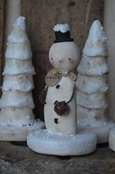 Snowman White and Black Peace Folk Art Paperclay by apinchofprim, $35.00