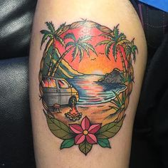 Mi buen amigo @furgonomada  #tattoocol #tattoos #tattoocolour #tattoocolor #vantattoo #tattooed  #sunset #neotraditionaltattoo #neotraditional #beach #beachtattoo #palm #palmtattoo #surf #surftattoo #vw #vwt4 #furgo #van #eternal #eternalink #spaintattoo #spaintattooartist #leonesp #leonespaña #ink #atardecer