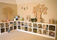 Great post on different ways to use Ikea Expedits shelving units.  Stacked high, made into benches, laundry room, toy room (my favorite), dining room, etc.