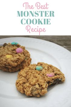 Have you ever heard of monster cookies? If not they are AMAZING! They are are peanut butter oatmeal cookies pack full of M&Ms and chocolate chips.