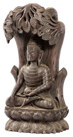Meditating Buddha, Hand Carved Wooden Idol Statues, Himalayan Wood Carving Masterpieces