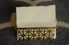 Vintage Mid Century Goldtone Metal Napkin Holder Hollywood Regency Desk Bathroom Organizer