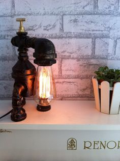 Vintage personality diy water pipe table lamp reminisced robot lamp-inTable Lamps from Lights & Lighting on Aliexpress.com