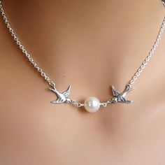 Birds Swallow Pearl Pendant Necklace Choker Short Silver Chain Fashion Jewelry for sale online Pearl Choker Necklace, Bird Necklace, Necklace Types, Silver Pendant Necklace, Pearl Necklaces, Jewelry Necklaces, Locket Necklace, Necklace Price, Short Necklace
