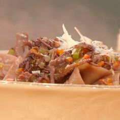 Short Rib Ragu with Drunken Pappardelle using her short ribs as a rollover meal on Rachael Ray show.