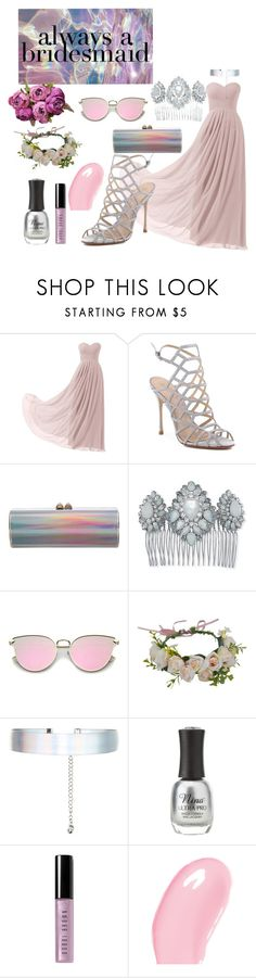"""""""Holographic bridesmaid"""" by babyelite on Polyvore featuring Remedios, Schutz, Jimmy Choo, Marchesa, Accessorize, Charlotte Russe, Bobbi Brown Cosmetics and Christian Dior"""