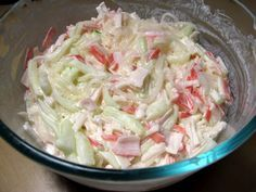 Imitation crab salad ////////// I left out the dill pickle and dill weed and used only a smidge of pickle relish because I didn't want it to be too sweet. I also didn't have yellow mustard on hand and subbed ground mustard. I used less than 1/4 C of mayo. Lastly, I also added a wee bit of lemon juice.