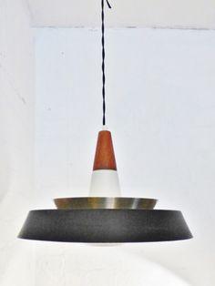 1950s Danish teak brass aluminium and glass pendant lamp  www.archivefurniture.co.uk