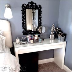 White dressing table affordable . Multipurpose. Bedside table. Ikea bedroom organization. Makeup vanity