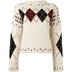Isabel Marant 'Glens' argyle golf jumper (46.410 RUB) ❤ liked on Polyvore featuring tops, sweaters, pink long sleeve top, boat neck jumper, boat neck sweaters, pink argyle sweater and bateau neck sweater