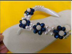 Sandália bordada com flores de cristais e pérolas Cida reis - YouTube