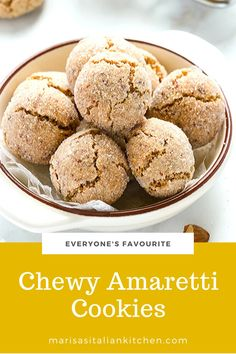Delightfully chewy amaretti cookies made with a combo of ground almonds and hazelnuts. These ever popular Italian cookies are gluten free and extremely easy to make. Amaretti Cookie Recipe, Amaretti Cookies, Almond Cookies, Bake Sale Recipes, Cookie Recipes, Dessert Recipes, Gluten Free Treats, Gluten Free Cookies, Almond Recipes