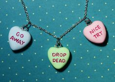 Gothic Lolita  Candy Heart Pendant  Charm Necklace  - Triple Heart Combo Rockabilly Psychobilly. $35.32, via Etsy.