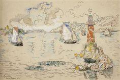 Paul Signac - 'Lézardrieux', watercolor over Conté crayon, 1925 http://paintwatercolorcreate.blogspot.com/2013/09/watercolor-ports-of-france.html