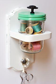Spools of thread in jar | Cosmo Cricket