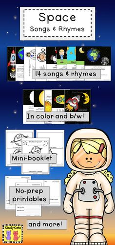 Blast off in to learning about space with these adorable songs and rhymes—as well stick puppets for your crew to make, no-prep printables, a mini-book, and pocket chart vocabulary cards—that will add plenty of out-of-this-world pizzazz to your space studies!  TpT$