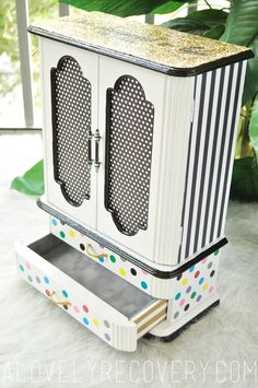 """hand painted jewelry box polka dots stripes gold colorful black white bold glitter sparkly DIY craft """"She designed a life she loved"""" quote style design painted furniture modern unique"""