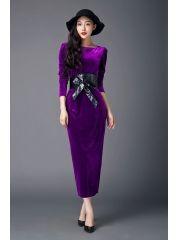 Ladies Noble Purple Back Split Package Hip Slim Lacing Bow Ankle-length Velvet Long Sleeve Maxi Dress Dresses For Work, Formal Dresses, Wholesale Clothing, Ankle Length, Lace Up, Velvet, Slim, Lady, Long Sleeve