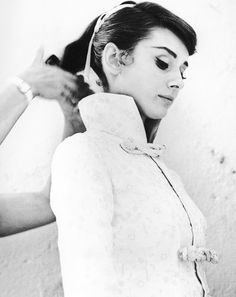 Audrey Hepburn on the set of War and Peace (1956).