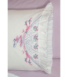 FAIRWAY NEEDLECRAFT-Ruffled Pillowcase: Southern Bell. These pillowcases are a beautiful show of skill and needlework. The printed blue ink easily washes out of finished projects. This package contain