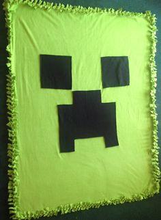Handmade Inspired Minecraft Creeper Blanket 5x4 by ThePartyMomma, $35.00