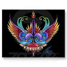 Eternal Love Rainbow Swallow Tattoo Postcard