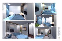 Hálószoba ötletek - modern hálószoba kialakítás - Erdélyi Krisztina belsőépítész munkáiból - fehér, kék, diófa, szürke, kőburkolat, tv fal, gardrób, design lámpák, led rejtett világítás - belsőépítészet - lakberendezés