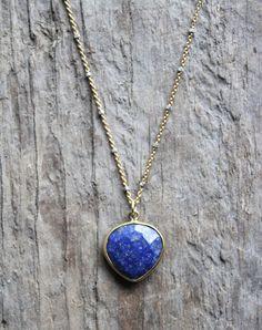 Gold Bezel Set Lapis Stone Necklace with Gold by JESDesignStudio