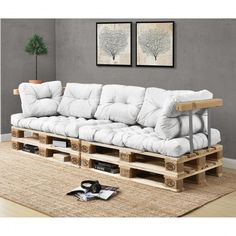 [en.casa] Sofá de palés - europalés de 3 plazas con cojines - (blanco) Set completo, incluidos apoyabrazos y respaldos - 467,60 €