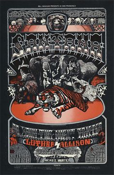 Old Fillmore poster ... 9/10 - 13/ 1970... Santana ..... Dr. John ..... Luther Allison ..  ... artist ....  NORMAN ORR