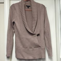 New Banana Republic Sweater w/ brown button Never worn soft wrap type sweater.  Brown toggle type button. Muted pink color. Smoke free home. Banana Republic Sweaters Crew & Scoop Necks
