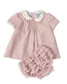 evie smocked baby top and bloomer pink tweed