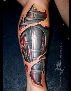 3D mechanical realistic leg tattoo on leg