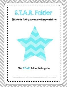 """The+S.T.A.R.+Folder+is+a+take+home+folder+or+binder+for+Students+Taking+Awesome+Responsibility!My+students+use+these+as+the+front+cover+to+their+1""""+binders+that+holds+their+papers,+agenda+books,+and+homework+assignments.+"""
