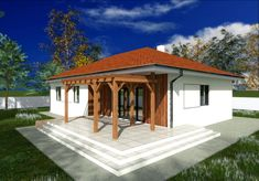 Proiecte de case cu parter si finisaje exterioare din lemn Single floor houses with exterior wood finishes 3 Design Case, Gazebo, Outdoor Structures, Exterior, Flooring, Wood, Houses, House Decorations, Homes