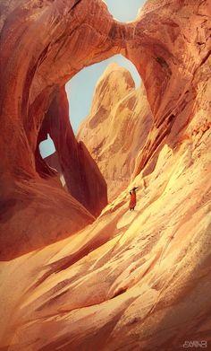 Zana, by Pablo Carpio Maraver More concept art here. Landscape Concept, Fantasy Landscape, Landscape Art, Environment Concept Art, Environment Design, Desert Environment, Game Environment, Dark Sun, Desert Art