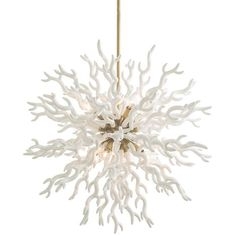 Coral inspired, this lacquered resin chandelier, is as dramatic as it is unique. The polished nickel center sphere gives it just the right amount of bling. Shown with silver bowl globe bulbs. Additional pipe available (PIPE-100). Material: Resin.  Available in Small or Large. BOTH SIZES NOW IN STOCK!  *Small - Dimensions: Adj H: 36-48'' • 24'' Dia. *Large - Dimensions: H: canopy 3'' • 6'' Dia Adj H: 40-52'' • 30'' Dia.