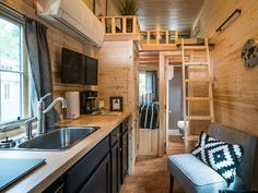 The interior of the Atticus tiny house, a 176 sq ft house on wheels.