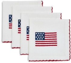 Sur La Table Stars and Stripes Embroidered Cocktail Napkins, Set of 4