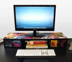 Computer Monitor Stand Desk Organizer Assembled Green Wood Screen Laptop Print