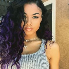 India Westbrooks Pretty Girl Swag Dope Baddie Purple Ombre Hair Hairstyle Curly