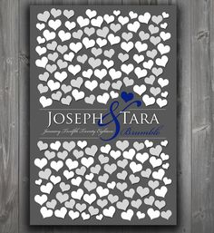 Modern Style Wedding Guest Book Alternative | Unique Wedding Keepsake Poster | Bridal Shower Gift Heart Guestbook 151 Guests 20x30_01
