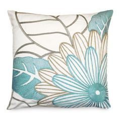 20x20 Mod Floral Down Pillow in Blue