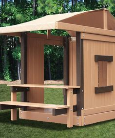 """Add to """"blue prints"""" for pallet play house! An indoor-outdoor bench! Take a look at this Picnic Table Clubhouse by KidWise on #zulily today!"""
