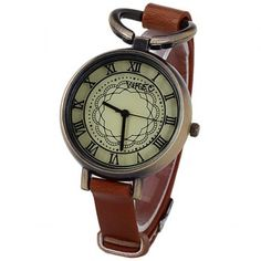 $5.09 Retro Watch for Women with 12 Roman Numbers Hour Marks Leather Watchband
