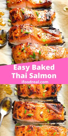 Thai Broiled Salmon with easy homemade sweet chili sauce cooked (oven baked ) until caramelized on top. Quick simple and ready in 15 minutes healthy dinner idea. Baked Salmon Recipes, Fish Recipes, Lunch Recipes, Seafood Recipes, Asian Recipes, Cooking Recipes, Healthy Recipes, Drink Recipes, Dinner Recipes