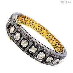 9.3ct Rose Cut Diamond 14K Gold Wedding Bangle Sterling Silver Bracelet Jewelry #raj_jewels