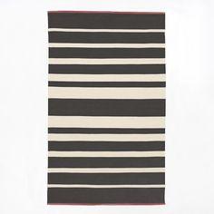 Gradated Stripe Cotton Rug - Iron | west elm.  3 ft x 5 ft